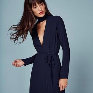 REFORMATION Campbell Long Sleeve Mini Wrap Dress